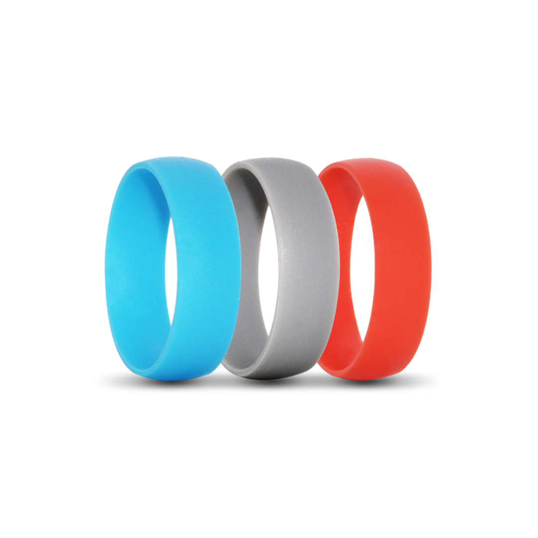 Blue, Grey and Red Silicone Fitness Rings