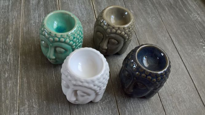 Ceramic Buddha Head Wax Burner Oil Burner (4 colours available)