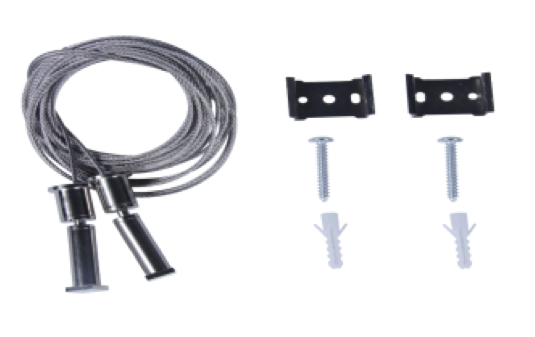 Cable de acero, terminales, tornillos y tacos