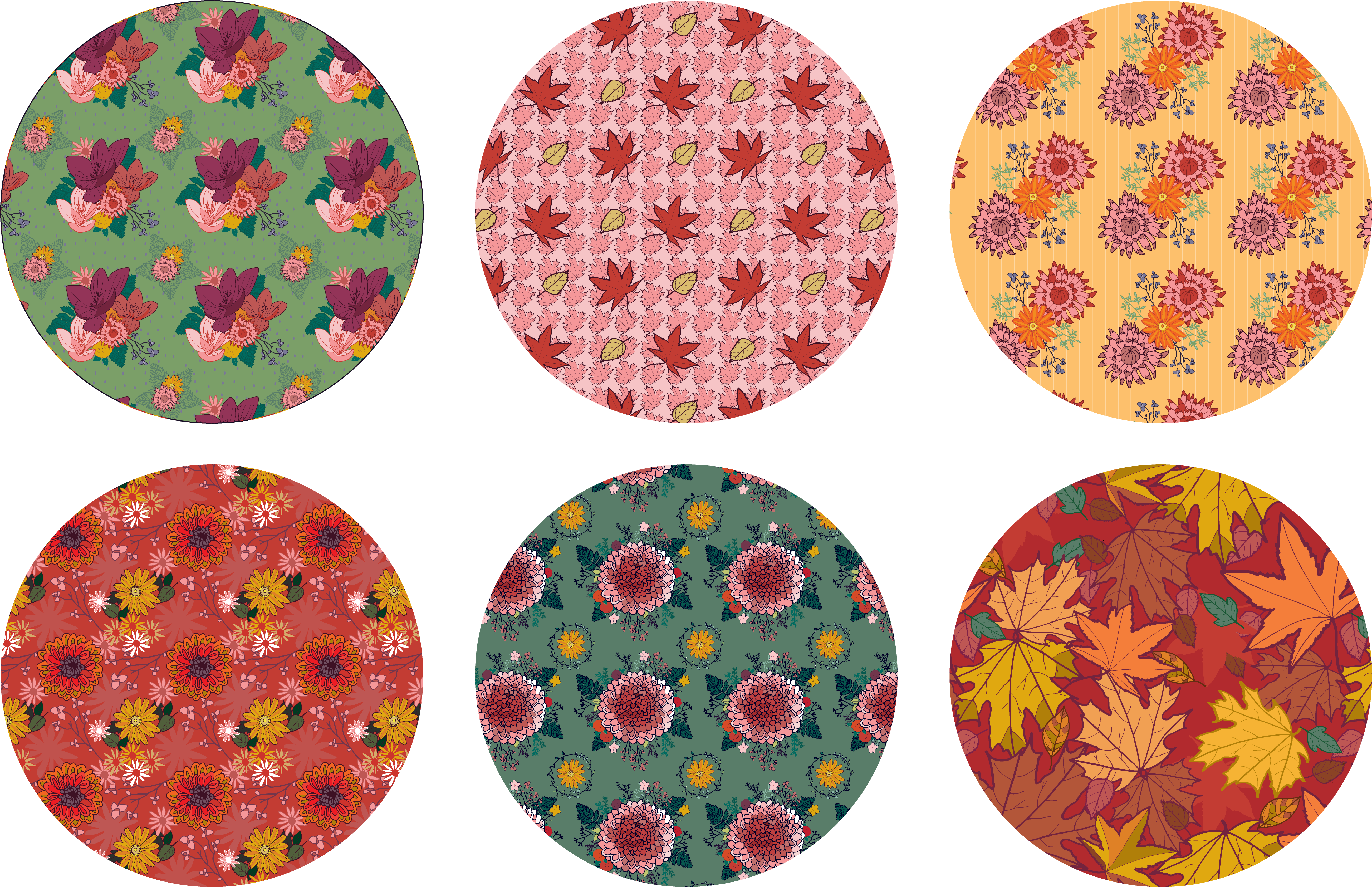 Pretty Autumn Flower Pattern part of the Autumn Flow Collection