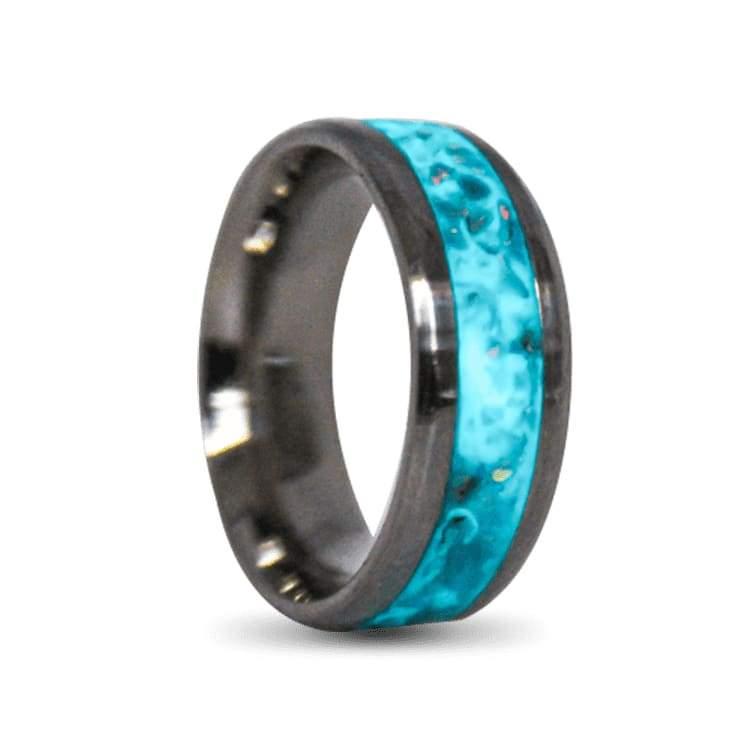 Inlay Mens Titanium Ring with Glow Powder