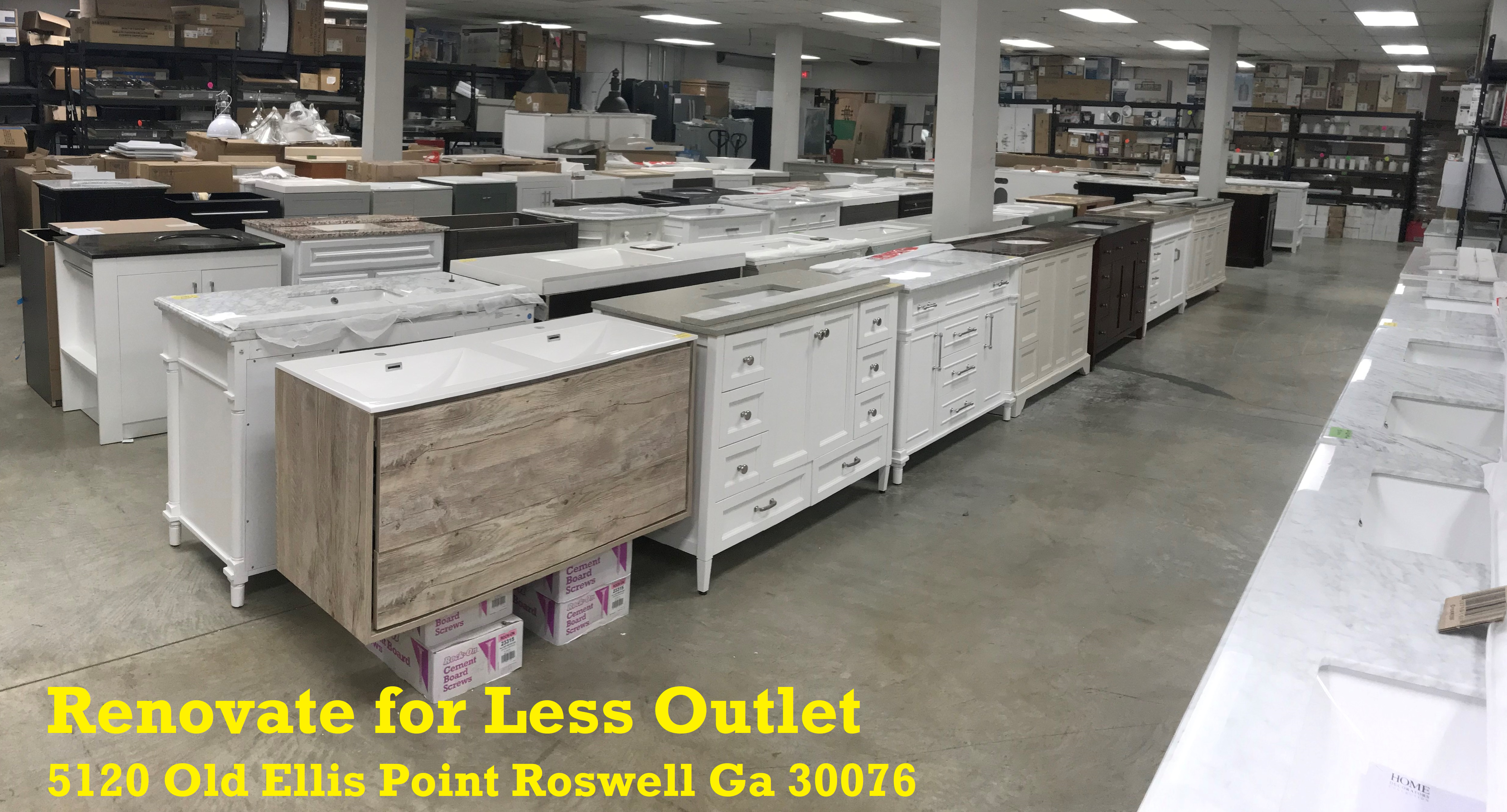 Renovate for Less Bathroom Vanity Cabinet Outlet Showroom in Roswell